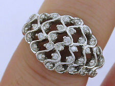 R085 SUPERB Genuine 9ct White Gold NATURAL 0.50ct Diamond WIDE Dress Ring size N