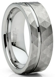 Mens Tungsten Ring Hammered Wedding Band Grooved Center Comfort-fit 8MM