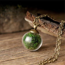 Nature Real Moss Plant Mini Terrarium Glass Ball Retro Pendant Wishing Necklace