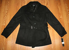 NWT Womens Nicole Miller Black Belted Peacoat Coat Size XL X-Large