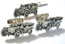 FENWICK & SAILORS Vtg Sterling Model T Ford CAR Cufflinks Tie Tac Set F&S 1950s