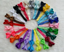 "25 PCS 3"" Baby Girl Infant  Boutique Hair Bows Clip with elastic headbands R"