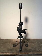 Vintage 1950s Rooster Wrought Iron Table Lamp Country Farmhouse MCM Chicken
