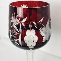 "AJKA Marsala Ruby Red Cut To Clear CrystaL Wine Hock 8.25"" Wine Goblet Stemware"