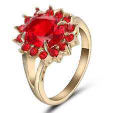 Women Red Ruby Wedding Ring CZ 10KT Yellow Gold Filled Engagement Band Size 7