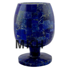 """5"""" Marble Inlay Wine Glass Set Goblets Gemstone Whisky Glasses Marquetry Decor"""