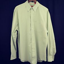 Izod Mens Business Casual Dress Shirt Button Down Collar Green White Stripes L