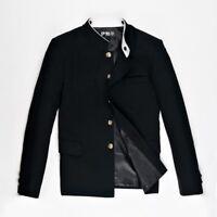 Mens Single Breasted Grandad Collar Jacket Blazer Japanese School Uniform Black