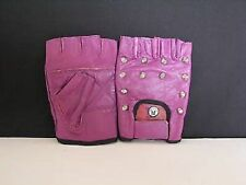 PURPLE STUDDED FINGERLESS GLOVES - SIZE EXTRA SMALL