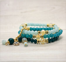 Damen Armband Damenschmuck dehnbar Perlen Glasperlen Acrylperlen Türkis Sommer
