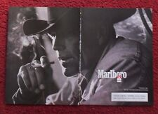 2000 Print Ad Marlboro Man Cigarettes ~ Western Cowboy Black & White Up Close