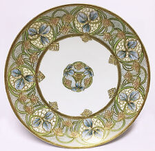 Antique Noritake Nippon Gold Moriage Art Nouveau Cabinet Plate, Green RC Mark