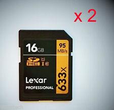 2 x Lexar 16GB SD SDHC UHS-1 class10 95MB/S 16GB Profi SDHC Karten *NEU*SPARPACK