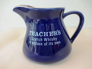 Vintage Teacher'S Scotch Whisky Jug Blue And White Pottery Barware Collectible F