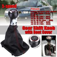 Red 5 Speed Gear Stick Shift Knob Manual Tranmission For Audi A3 8P A4 B5 B6 B7