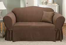 Sure Fit Soft Suede 1 Piece Love Seat Slipcover Box Cushion in Chocolate/ Brown