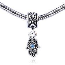 HOT Retro Silver Eyes Palm Blue CZ Dangle Charm Bead Fit Bracelet Necklace