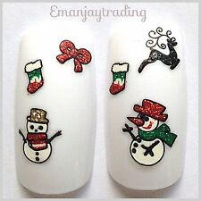 Nail Art 3D  Decals/Stickers Christmas Snowmen Stockings Reindeer Bows  #160