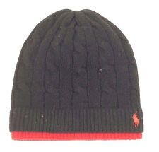 $90 POLO RALPH LAUREN Mens BLACK THERMAL CUFFED KNIT PONY LOGO WINTER HAT BEANIE