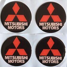 MITSUBISHI ALLOY WHEEL CENTRE CAP DOMED STICKERS BLACK RED EVO LANCER X4 50mm