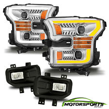 For 2015 2016 2017 Ford F150 Black LED Bar Projector Headlights+LED Fog light