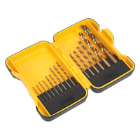 HSS Roll Forged Drill Bit Set 15pc - Coated To Stop Friction / Heat 1.55m - 10mm