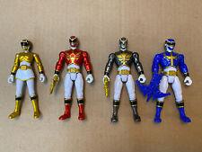 "Lot of 4 Loose Power Rangers Megaforce 4"" Action Figures (3 metallics) Bandai"