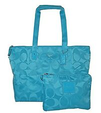 COACH TOTE NYLON PACKABLE WEEKENDER Overnight Getaway Bag TRAVEL Duffel F 77321