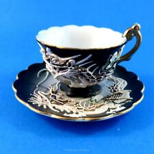 Moriage Dragon on Black Made in Japan Tiny Mimiature Tea Cup and Saucer Set