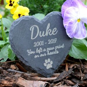 Memorial Plaque For Pet Dog - Personalised Dogs Grave Stone Heart Slate Marker