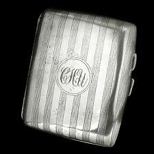 Antique Silver Plated Cigarette Cigarillo Cigar Case with Gilt Interior