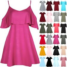 Womens Ladies Cold Cut Out Shoulder Peplum Ruffle Frill Strappy Swing Mini Dress