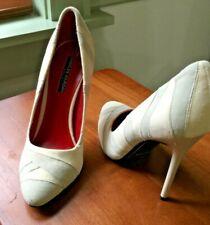 Charles Jourdan Cream Gray Suede Leather Pointy Toe Stiletto 8.5 NWOB Orig $225