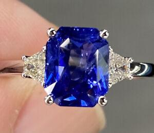 AAA Blue Sapphire Gemstone Diamond Ring. Nature Blue Sapphire Ring 14 Carat Hollmark Yellow Gold Blue Sapphire Double Cut Diamond Ring