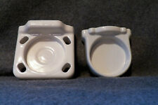 Vintage Ceramic 4 Toothbrush Holder Wall Mount & Cup Holder Fixture 2 (Pieces)