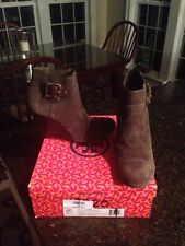 $350+ NEW Tory Burch ADRIENNE Brown Suede Leather Ankle Wedge Bootie Boots 9.5
