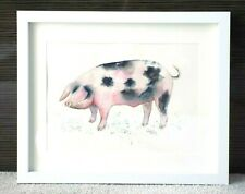 "ORIGINAL Watercolour Painting PIG, 9""x 12"", Colourful, Farm Animals, Lisa WU Art"