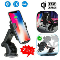 10W Qi Wireless Car Fast Charger Phone Mount Holder Stand for iPhone Samsung