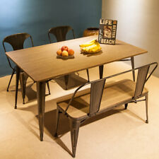 Dining Table Industrial Style Kitchen Room Desk Furniture Solid Wood and Metal