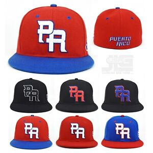 PR Fitted Two Tone Solid Caps Puerto Rico Embroidered hat Front Side Back NEW