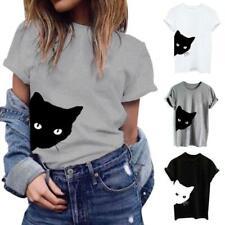 Women Summer Shirts Cotton Blouse Cat Print T-shirt Short Sleeve Hipster Tops