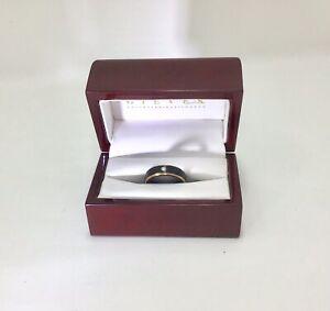 Black Tungsten Ring,18k Rose Gold Edged, one Diamond UK M,EU 53 US 6.5,RRP £225