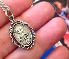 Rare ARCHANGEL St MICHAEL Pewter NECKLACE Laminated Holy Card Defender Prayer