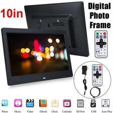 """10 """"HD Digitaler Bilderrahmen Wecker MP3 / 4 Movie Player Schwarz-US Stecker"""