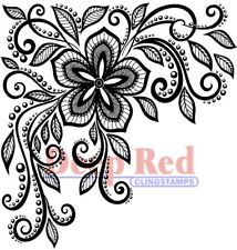 Deep Red Stamps Lace Flower Corner Rubber Cling Stamp