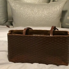 JIMMY CHOO BROWN WOVEN LEATHER TOTE BAG W/ DETACHABLE CENTER POUCH & STRAPS