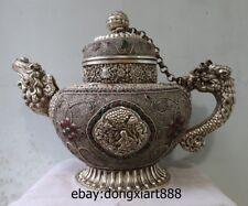 18 Tibet Silver inlaid Gem Foo Dog Dragon eight treasures kettle Teapot flagon
