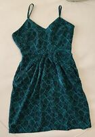 Mossimo Womens Size 2 Rayon Camisole Zip Dress w/ Pockets Green Black Above Knee
