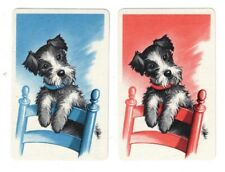 SWAP CARDS / Playing Cards - Vintage Collectable Pair - Cute Dogs #2