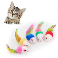5X Cat Toy Mouse NEW Feather Tail Rattle Furry Plush Fur Kitten Pet Chasing Mice